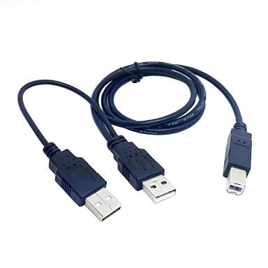Yazıcı için standart b erkek y kablo 80cm için çift USB 2.0 erkek& tarayıcı& Harici sabit disk sürücüsü
