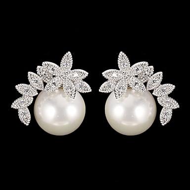 Kadın's Damla Küpeler - İnci, Kübik Zirconia Moda Gümüş Uyumluluk Günlük