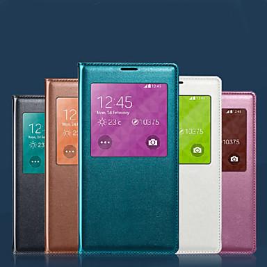 Capinha Para Samsung Galaxy Samsung Galaxy Capinhas Impermeável com Visor Capa Proteção Completa Côr Sólida Macia PU Leather para S8 Plus