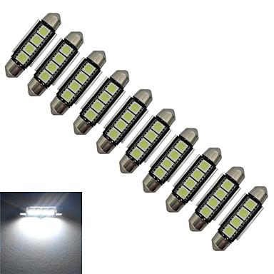10pcs 80-90lm Festoon Διακοσμητικό Φως 4 LED χάντρες SMD 5050 Ψυχρό Λευκό 12V