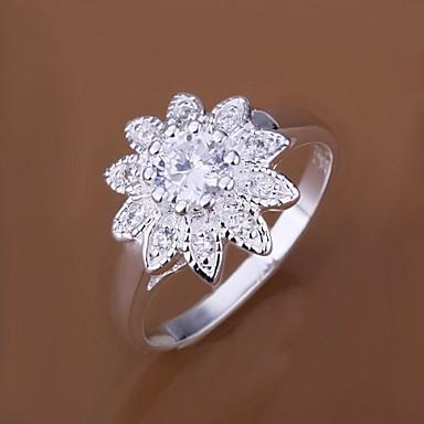 διαμάντι ηλιέλαιο 925 ασημένια δαχτυλίδια δήλωσης (1pc) κομψό στυλ