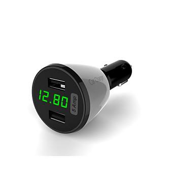multifuncional carregador de carro display de tensão / Amper e temperatura / dois usb carregador de carro porto 5a