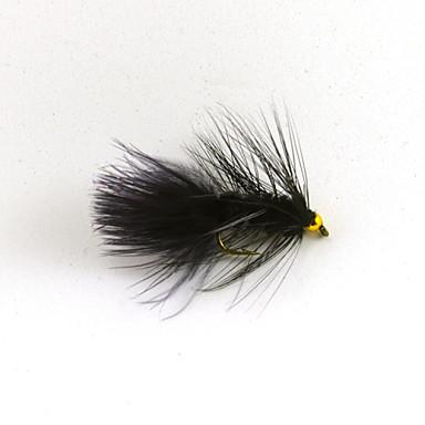 12pcs 8 # pederasta woolly plástico dourado cabeça talão de cristal cor preta da cauda do flash voar isca de pesca