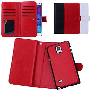 Capinha Para Samsung Galaxy Samsung Galaxy Note Porta-Cartão Flip Capa Proteção Completa Côr Sólida PU Leather para Note 4