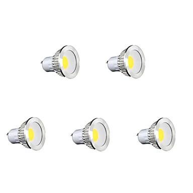 5pçs 400lm GU10 Lâmpadas de Foco de LED MR16 1 Contas LED COB Branco Quente / Branco Frio / Branco Natural 85-265V