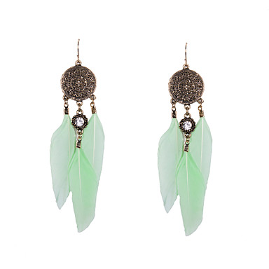 Γυναικεία Κρεμαστά Σκουλαρίκια Πολυτέλεια Στρας Φτερό Προσομειωμένο διαμάντι Φτερό Κοσμήματα Λευκό Πράσινο Γάμου Πάρτι Καθημερινά Causal