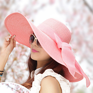 Mulheres Vintage Casual Palha Verão Chapéu de sol Branco Azul Marinho Rosa claro