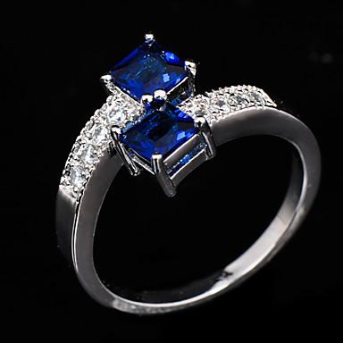 Γυναικεία Ζιρκονίτης Cubic Zirconia Προσομειωμένο διαμάντι Δακτύλιος Δήλωσης - Μοντέρνα Μπλε Δαχτυλίδι Για Γάμου Πάρτι Καθημερινά Causal