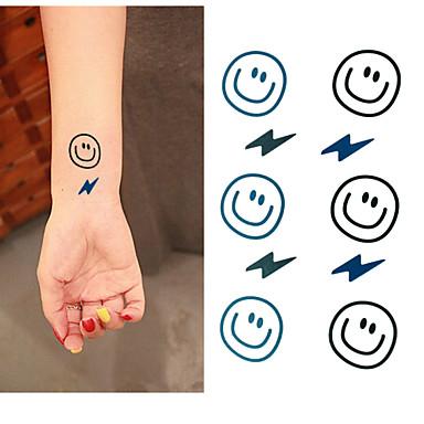3 - 6*5 - Μαύρο/Μπλε Άλλα - Αυτοκόλλητα Τατουάζ - Non Toxic/Μοτίβο/Χαμηλά στην Πλάτη/Waterproof - από Χαρτί για