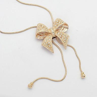 billige Mode Halskæde-Hvid lang halskæde Simuleret diamant Prinsesse Sløjfe Damer Luksus Elegant Halskæder Smykker Til Daglig