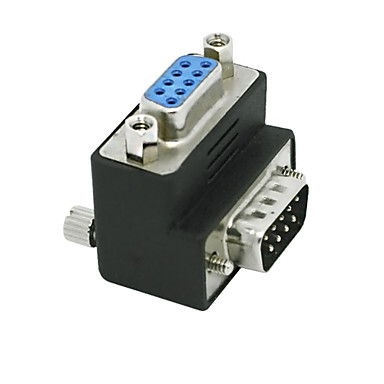 billige Kabler og adaptere-RS232 DB9 9pin mandlige og kvindelige adapter 90 graders konverter adapter