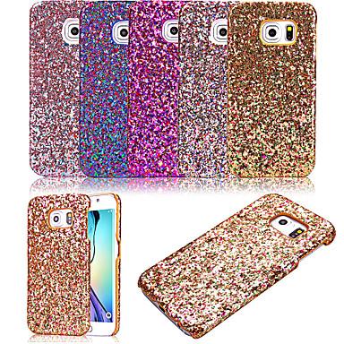 Para Samsung Galaxy Capinhas Áspero Capinha Capa Traseira Capinha Brilho com Glitter Couro PU Samsung S6 edge