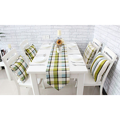 Europese stijl van hoge kwaliteit engeland raster printing katoenen tafelloper (12
