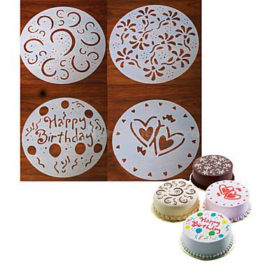 4 peças redondas bolo fondant ofício molde decoração coração da flor de corte sugarcraft 20 * 20 * 0,12 centímetros