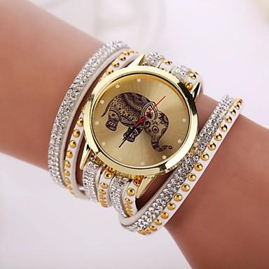 Mulheres Quartzo Bracele Relógio Relógio Casual PU Banda Elegant Preta Azul Vermelho Rosa