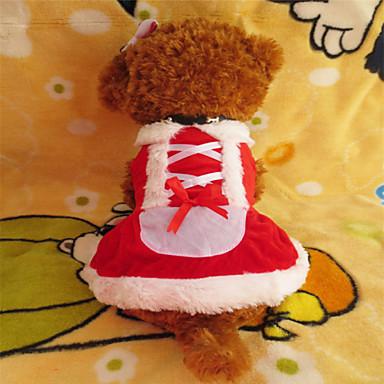 Cachorro Vestidos Roupas para Cães Natal Branco/Vermelho Ocasiões Especiais Para animais de estimação