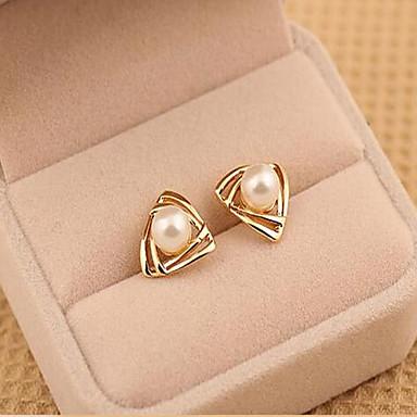 Mulheres Pérola Imitação de Pérola Brincos Curtos - Dourado Branco Triângulo Forma Geométrica Brincos Para