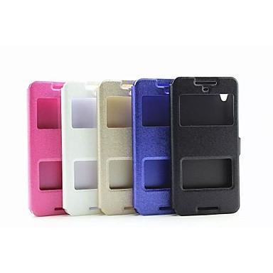 Voor HTC hoesje met standaard / met venster / Flip hoesje Volledige behuizing hoesje Effen kleur Hard PU-leer HTC