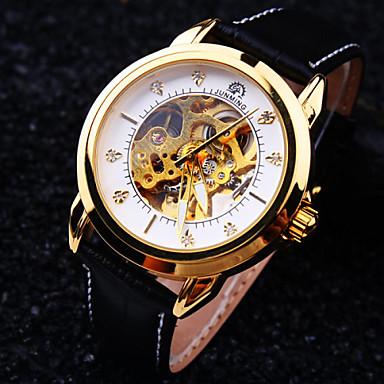 Χαμηλού Κόστους Ανδρικά ρολόγια-Ανδρικά Ρολόι Καρπού μηχανικό ρολόι Αυτόματο κούρδισμα Δέρμα Μαύρο 30 m Ανθεκτικό στο Νερό Εσωτερικού Μηχανισμού Αναλογικό Πολυτέλεια - Μαύρο / Άσπρο Μαύρο Χρυσό / Μαύρο / Ανοξείδωτο Ατσάλι