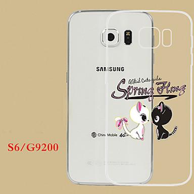 Voor Samsung Galaxy hoesje Hoesje cover Transparant Reliëfopdruk Achterkantje hoesje Kat TPU voor Samsung S6 edge