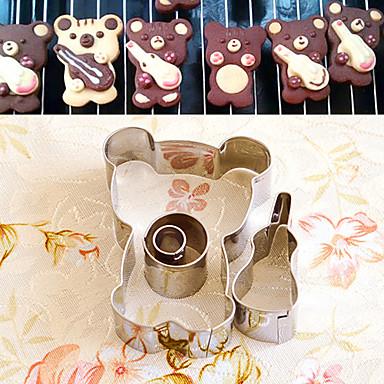 4 stuks cartoon beer met viool vorm cookie cutters set fruit gesneden mallen roestvrij staal
