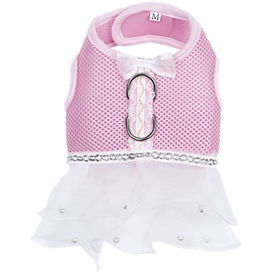cheap Dog Clothing & Accessories-Dog Harness Dress Dog Clothes Bowknot Red Pink Light Blue Fabric Costume For Spring &  Fall Summer Men's Women's Holiday Casual / Daily