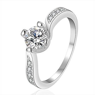 Anéis Casamento / Pesta / Diário / Casual Jóias Zircão / Prata Chapeada Feminino Anéis Statement 1pç,7 / 8 Prateado