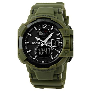 SKMEI Ανδρικά Αθλητικό Ρολόι / Στρατιωτικό Ρολόι / Ρολόι Καρπού Συναγερμός / Ημερολόγιο / Χρονογράφος καουτσούκ Μπάντα Μαύρο / Πράσινο / Ανθεκτικό στο Νερό / LCD / Διπλές Ζώνες Ώρας