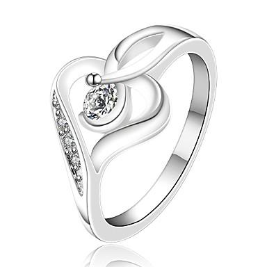 Anéis Casamento / Pesta / Diário / Casual Jóias Zircão / Prata Chapeada Feminino Anéis Meio Dedo 1pç,7 / 8 Prateado
