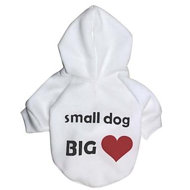 Γάτα Σκύλος Παλτά Φούτερ με Κουκούλα Ρούχα για σκύλους Καρδιά Γράμμα & Αριθμός Λευκό Πολική Προβιά Βαμβάκι Στολές Για κατοικίδια Στολές