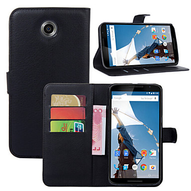 lichia em todo suporte aberto telefone couro cartão da carteira adequadas para moto nexus 6 (cores sortidas)