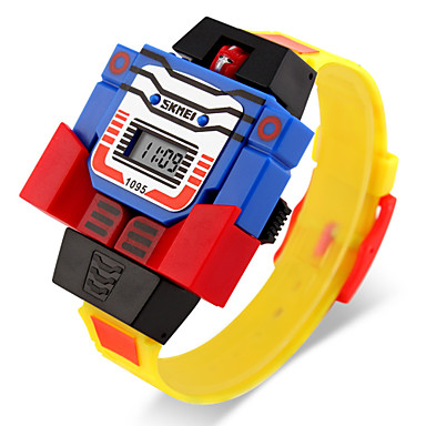 billige Herreure-SKMEI Digital Watch Quartz Digital Gummi Blåt / Rød / Gråt Kalender LCD Digital Tegneserie Mode - Gul Rød Blå To år Batteri Levetid / Maxell626 + 2025