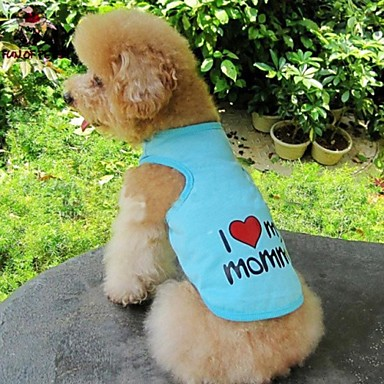 cheap Dog Clothing & Accessories-Cat Dog Shirt / T-Shirt Dog Clothes Heart Letter & Number Gray Blue Pink Cotton Costume For Summer Cosplay Wedding