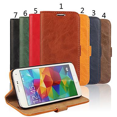 Για Samsung Galaxy Θήκη Θήκη καρτών / Πορτοφόλι / με βάση στήριξης / Ανοιγόμενη tok Πλήρης κάλυψη tok Μονόχρωμη Γνήσιο δέρμα Samsung S5