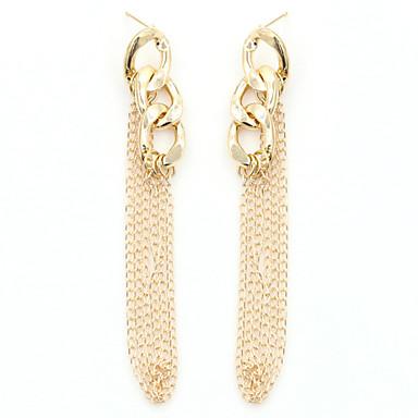 Mulheres Cristal Pérola Chapeado Dourado Cristal Austríaco 18k Ouro Imitações de Diamante Brincos Compridos - Fashion Europeu Cor Ecrã