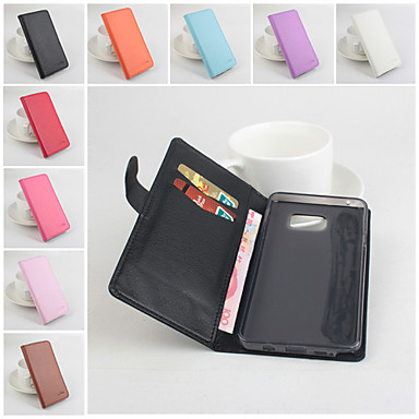 Voor Samsung Galaxy Note Portemonnee / Kaarthouder / met standaard / Flip hoesje Volledige behuizing hoesje Effen kleur PU-leer Samsung