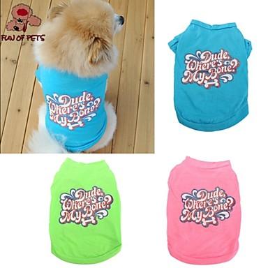 Kat Hond T-shirt Hondenkleding Letter & Nummer Groen Blauw Roze Katoen Kostuum Voor huisdieren Cosplay Bruiloft