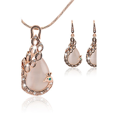 9d3f5ef5b Women's Crystal Jewelry Set Drop Earrings Pendant Necklace Peacock Ladies  Party Elegant Bridal Festival / Holiday Cubic Zirconia Rose Gold Plated  Imitation ...