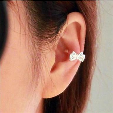 Mulheres Formato de Laço Imitações de Diamante Brincos Curtos - Formato de Laço Brincos Para