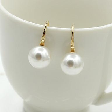 503c5e2cec30 Mujer Cristal Pendientes cortos Pendientes colgantes Chapado en oro 18K Perla  Perla Artificial Aretes damas Europeo