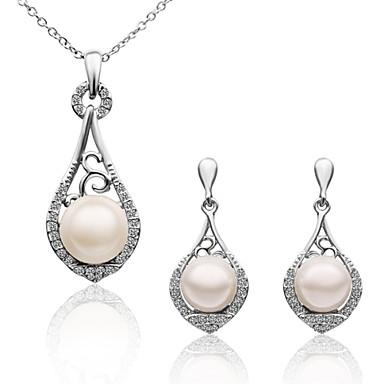 Damen Tropfen-Ohrringe Halskette Imitierte Perlen Künstliche Perle vergoldet Tropfen Modisch Hochzeit Abschluss Normal Büro & Karriere