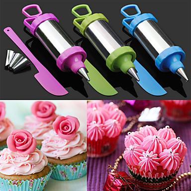set van 4 cake suiker ambachtelijke hulpmiddel decoreren pennenset gebak nozzle tip met schraper (willekeurige kleur)