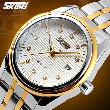 SKMEI Masculino Relógio de Pulso Quartzo Quartzo Japonês Calendário Impermeável Aço Inoxidável Banda Prata Branco Preto Dourado