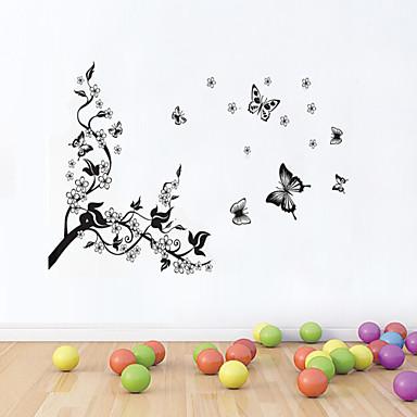 αυτοκόλλητα τοίχου αυτοκόλλητα τοίχου στυλ δαμάσκηνο άνθος πεταλούδες κυματίζουν αυτοκόλλητα PVC τοίχο