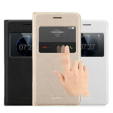 Voor Huawei hoesje met standaard / met venster / Automatisch aan/uit / Flip hoesje Volledige behuizing hoesje Effen kleur Hard PU-leer