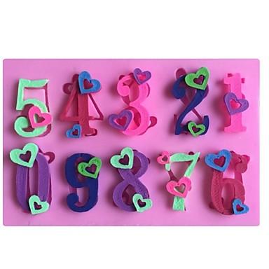 αριθμοί καρδιάς 0-9 σχήμα κέικ φοντάν μούχλα μούχλα σιλικόνης σοκολάτα, τα εργαλεία διακόσμησης bakeware