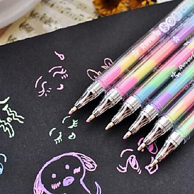 ουράνιο τόξο χρώματος 6-χρώμα-σε-1 0,8 χιλιοστά στυλό ιθύνοντες γκουάς στυλό Νέος highlighter (τυχαία χρώμα)