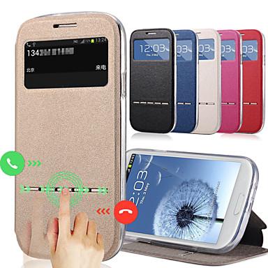 Capinha Para Samsung Galaxy Samsung Galaxy Capinhas Com Suporte com Visor Capa Proteção Completa Côr Sólida PU Leather para S3