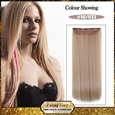 5 clips longo cor 18/613 grampo de cabelo sintético em linha reta em extensões do cabelo para senhoras mais cores disponíveis
