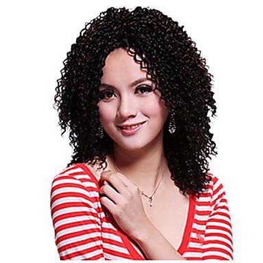 sem tampa crespo calor cacheados peruca sintética resistente cor preto curto